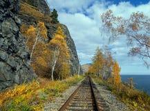Jesień na Baikal drodze Zdjęcie Stock