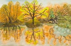 jesień obraz krajobrazu Obrazy Royalty Free