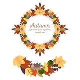 Jesień ornamenty - wianek i girlanda Fotografia Stock