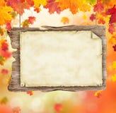 Jesień pusty drewniany plakat Zdjęcia Stock