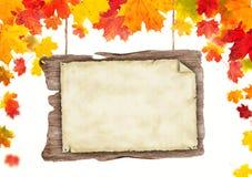 Jesień pusty drewniany plakat Obraz Stock