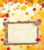 Jesień pusty drewniany plakat Obraz Royalty Free