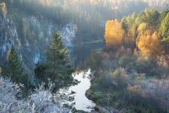 Jesień ranek na rzece Fotografia Stock