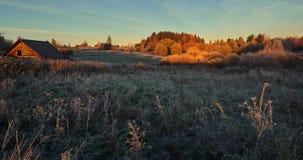 Jesień ranek w wiosce Zdjęcia Stock