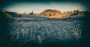 Jesień ranek w wiosce Zdjęcia Royalty Free