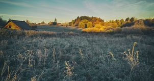 Jesień ranek w wiosce Obrazy Stock