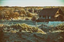Jesień ranek w wiosce Zdjęcie Royalty Free