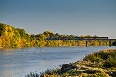 jesień rzeki scena Obrazy Royalty Free