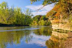 jesień rzeki skała Fotografia Royalty Free