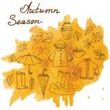 Jesień sezonu set doodles elementy Wręcza rysującego set z umprella cuo gorąca herbata, deszcz, gumowi buty, odzieżowy, i leevs i Obrazy Royalty Free