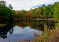 Jesień spadku krajobraz na jeziorze Zdjęcie Royalty Free