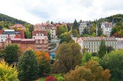 Jesień widok Karlovy Zmienia (Karlsbad) Obrazy Stock