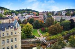 Jesień widok Karlovy Zmienia (Karlsbad) Obraz Royalty Free
