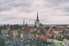 Jesień widok stary Tallinn Zdjęcia Stock