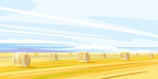 Jesie? wiejski krajobraz z haystacks royalty ilustracja