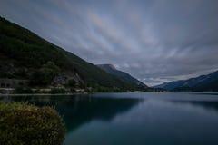 Jesień zmierzch, Ledro jezioro Zdjęcia Stock