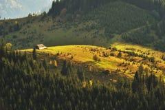 Jesień zmierzch w Karpackich górach obraz stock