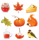 jesienią ikony zestaw royalty ilustracja