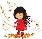 jesienią, mała dziewczyna Obrazy Royalty Free