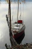 Jesieni łodzi jezioro Zdjęcie Royalty Free