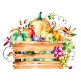 Jesieni żniwa kosz z spadków liśćmi, gałąź, jagoda royalty ilustracja