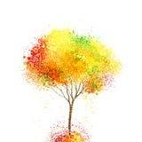 Jesieni abstrakcjonistyczny drzewo tworzy okręgami i kleksami Obrazy Royalty Free