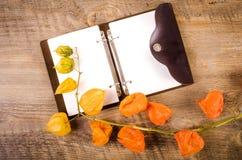 Jesieni ackground Przylądka agrest na drewnianym stole z notatnikiem Obrazy Stock