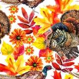Jesieni akwareli bezszwowy wzór ilustracja wektor