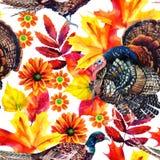 Jesieni akwareli bezszwowy wzór royalty ilustracja