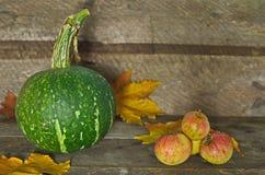 Jesieni banie na drewnianym tle Fotografia Stock