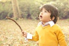 Jesieni chłopiec Zdjęcie Royalty Free