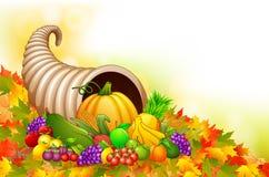 Jesieni cornucopia róg obfitość z owoc royalty ilustracja