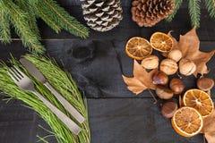 Jesieni cutlery gościa restauracji dekoracja Zdjęcia Royalty Free