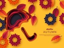Jesieni 3d papieru rżnięty parasol z liśćmi i kwiatami Abstrakcjonistyczny tło z kształtami w kolorze żółtym, pomarańcze, purpura Zdjęcia Stock