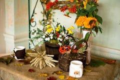 Jesieni dekoracja wnętrze Zdjęcia Royalty Free