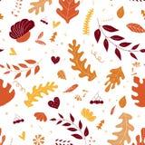 Jesieni deseniowy tło Kolorowi liście odizolowywający na białym tle ilustracji