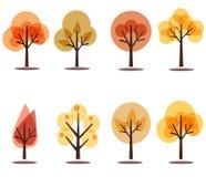 Jesieni drzew ikony na bielu Obrazy Stock