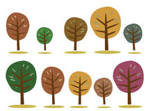 Jesieni drzew ikony na bielu Zdjęcia Royalty Free