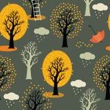 Jesieni drzewa z kolorem żółtym opuszczają, chmury i deszcz.  royalty ilustracja