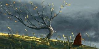 Jesieni drzewo w burzy z mężczyzna w żakiecie, cyfrowy fantazja obraz ilustracja wektor