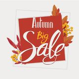 Jesieni duża sprzedaż, ulotka, sztandar, plakatowy szablon royalty ilustracja