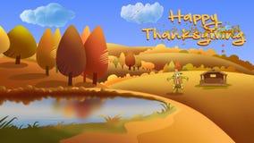Jesieni dziękczynienia kreskówki 4K Krajobrazowy Szczęśliwy liść Dmuchająca pętla zbiory wideo