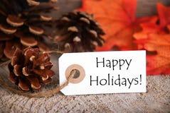 Jesieni etykietka z Szczęśliwymi wakacjami Zdjęcie Royalty Free