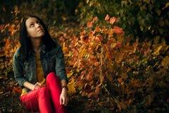 Jesieni fotografia piękna dziewczyna w lesie Zdjęcia Stock