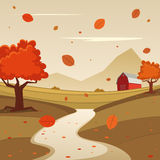 Jesieni gospodarstwa rolnego krajobraz ilustracji