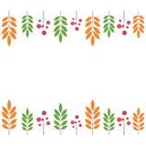 Jesieni granica z czarnymi liśćmi i rowan Obraz Royalty Free