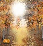 Jesieni Halloweenowy tło z sową i banią ilustracji
