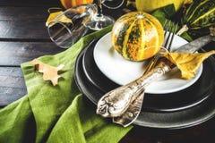 Jesieni i dziękczynienia stołowy położenie fotografia royalty free