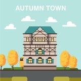 Jesieni illlustration z ulicą, domem i pomarańczowymi drzewami, Fotografia Stock
