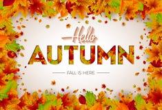 Jesieni ilustracja z Spada liśćmi i Pisać list na Białym tle Jesienny Wektorowy projekt dla kartka z pozdrowieniami Fotografia Stock